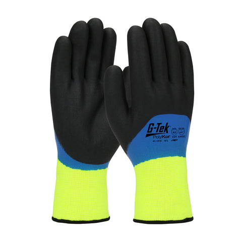 PIP® G-Tek® PolyKor® Hi-Vis Seamless Knit PolyKor® Blended Glove w/Acrylic Liner & Double-Dipped Nitrile Coated Foam Grip - Unisex - Yellow