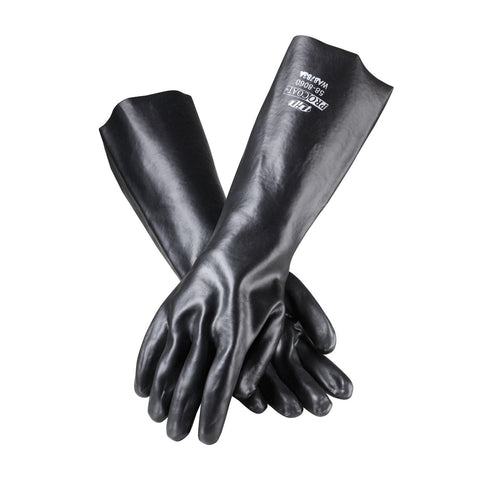 "PIP® ProCoat® PVC Dipped Glove w/Interlock Liner & Smooth Finish - 18"" - Men's - Black"