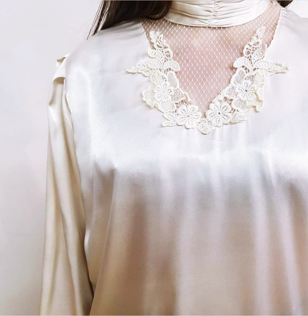 White Vintage Long Sleeve Blouse with Lace
