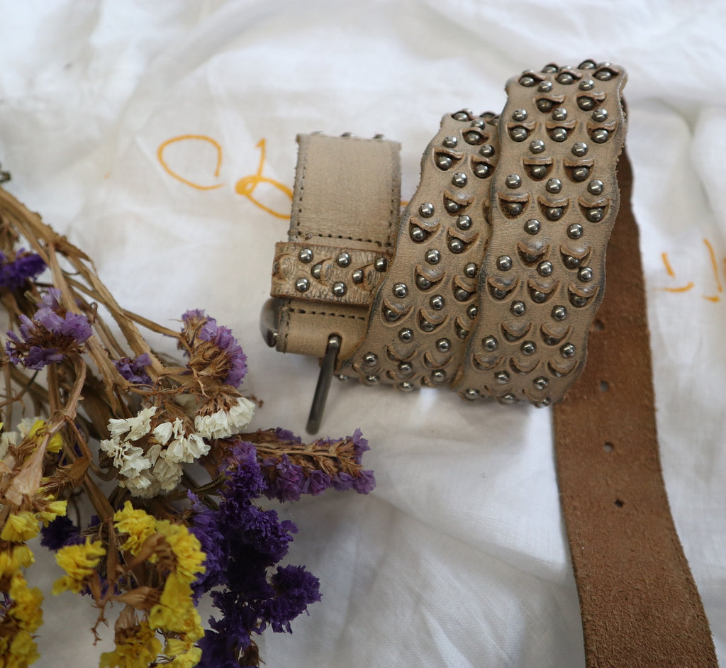 Beige Vintage Leather Belt with Studs and Details