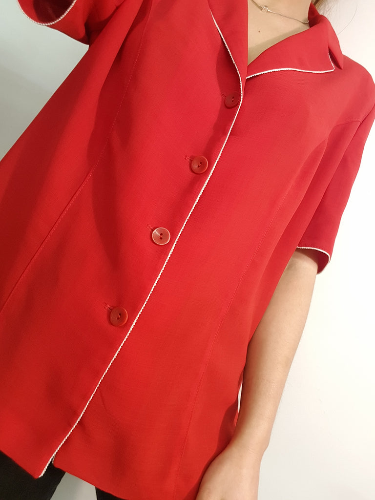 Vintage Short Sleeve 70s Red Blouse with Buttons