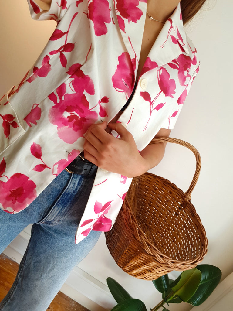 Vintage Short Sleeve Blazer with Flowers in Pink and White