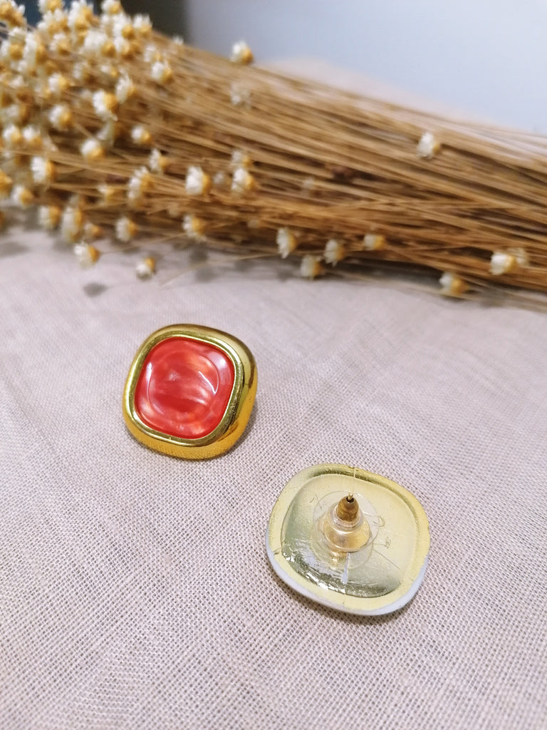 Vintage Golden and Red Earrings Handmade by Us