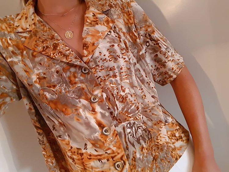 Vintage 70's Abstract Print Buttons Front Blouse Top in Multicolor