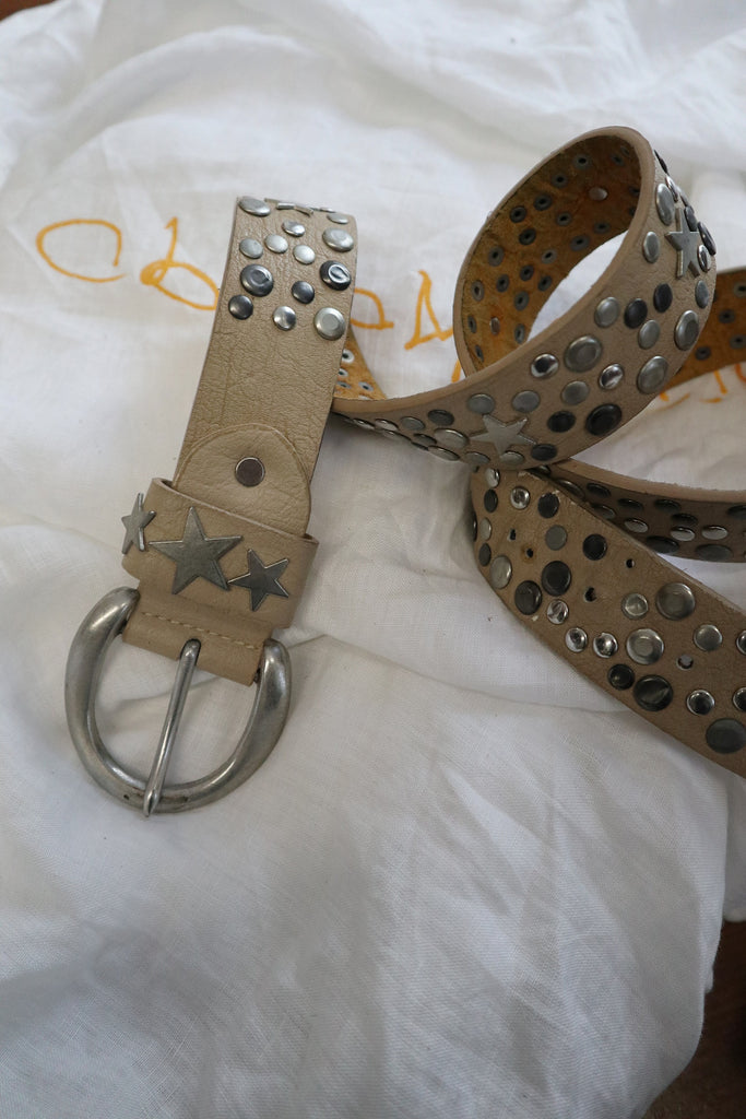 Beige Vintage Leather Belt with Studs and Stars