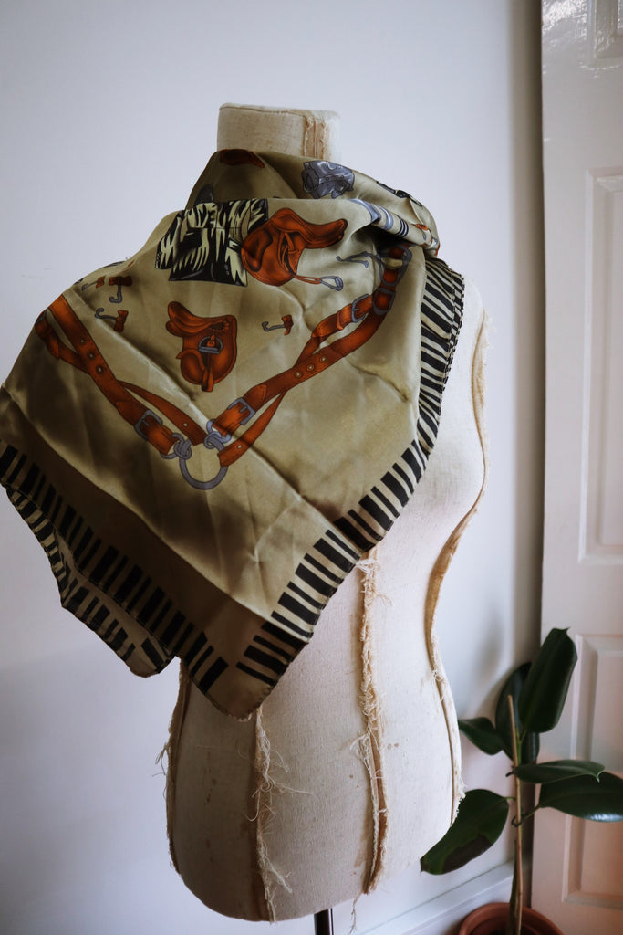 Vintage Scarf with Equestrian Pattern