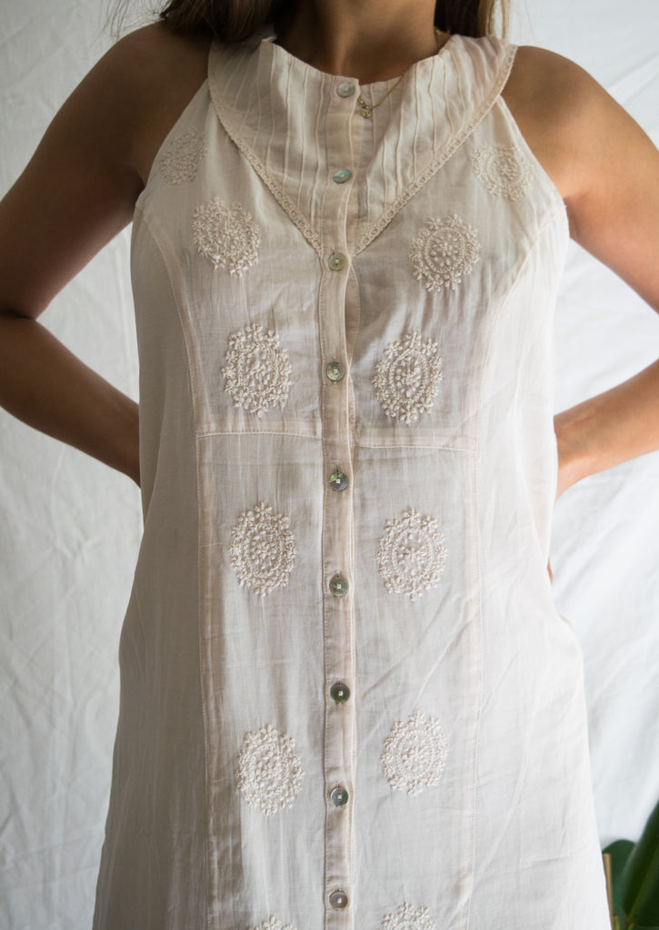 Vintage White Dress with Embroidery