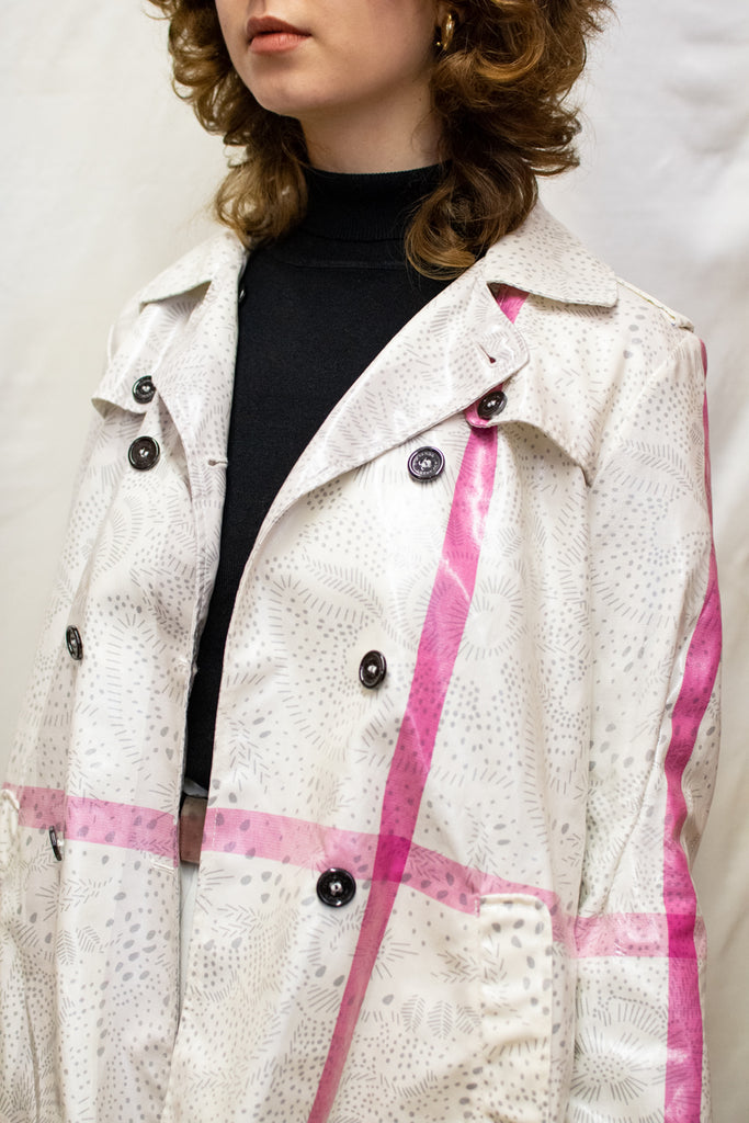 Burberry White and Pink Trenchcoat