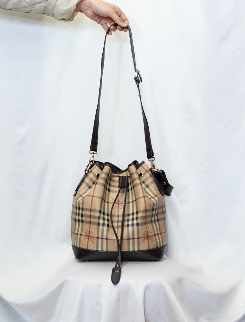 100% Authentic Burberry Beige/ Brown Leather Drawstring Bucket Bag