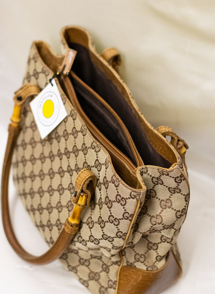 Gucci Brown Canvas Bamboo Handbag - Excellent condition