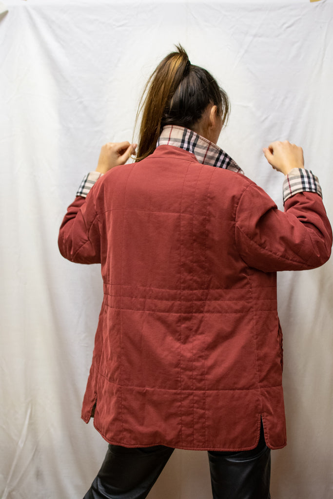 Burgundy Burberry Coat - with plaid lining