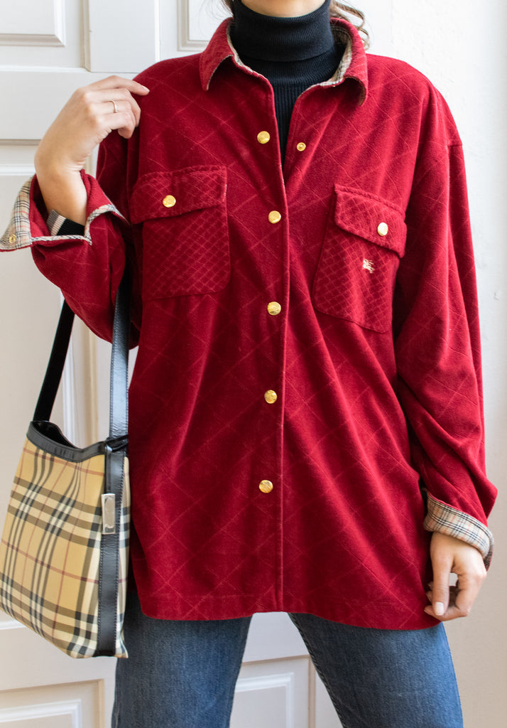Vintage Burberry Red Shirt With Golden Buttons