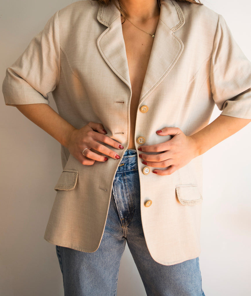 50s Short Sleeve Blazer in Beige