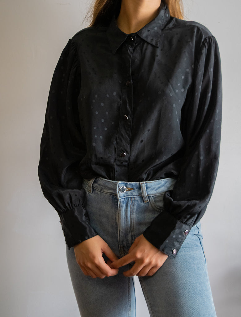 80s Vintage Black Blouse with Pattern