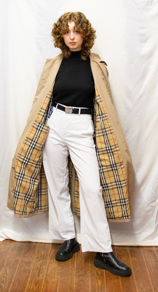 Burberry Creme Parka - checkered linning