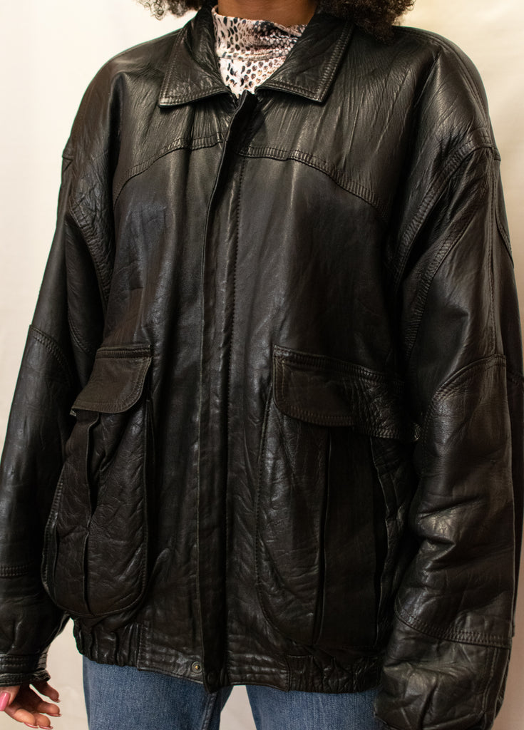 Vintage Black Leather Jacket - Oversized