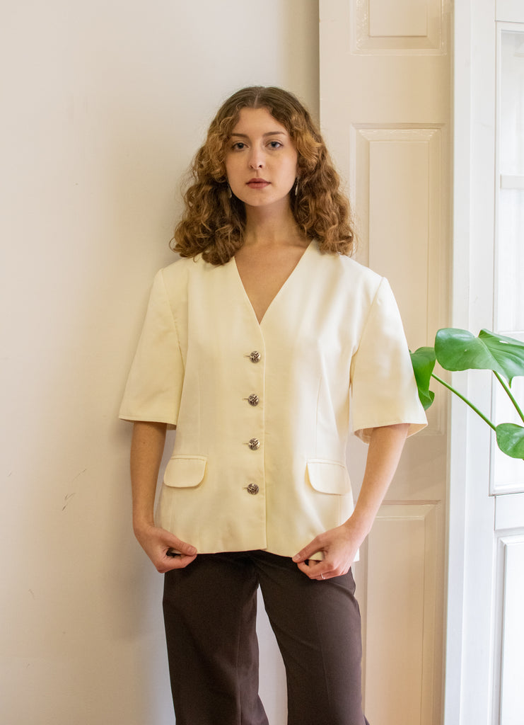 Vintage Short Sleeve Blazer in White - with shoulder pads