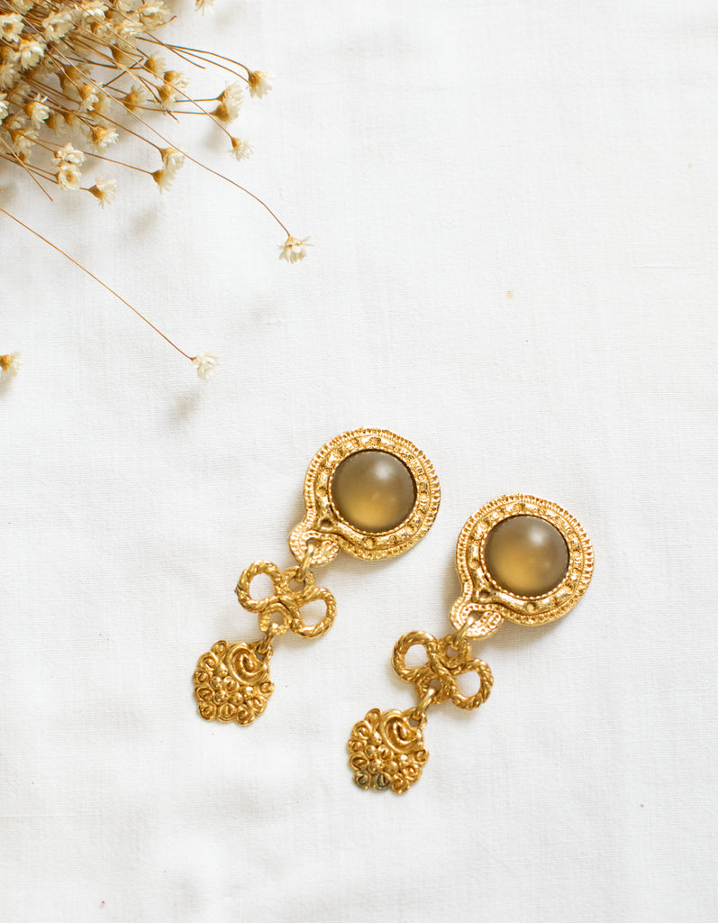 Rare Earrings - in gold and green