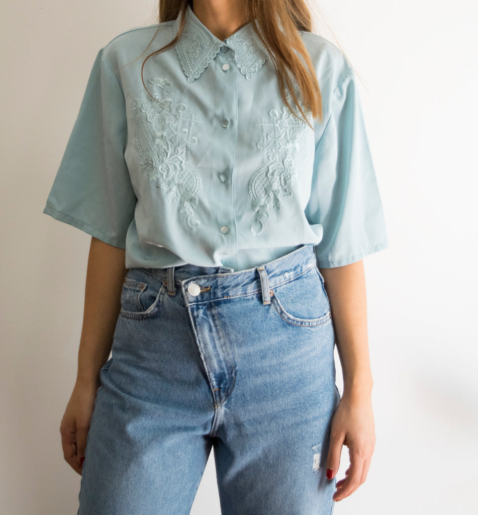 Embroidered Light Blue Vintage Shirt