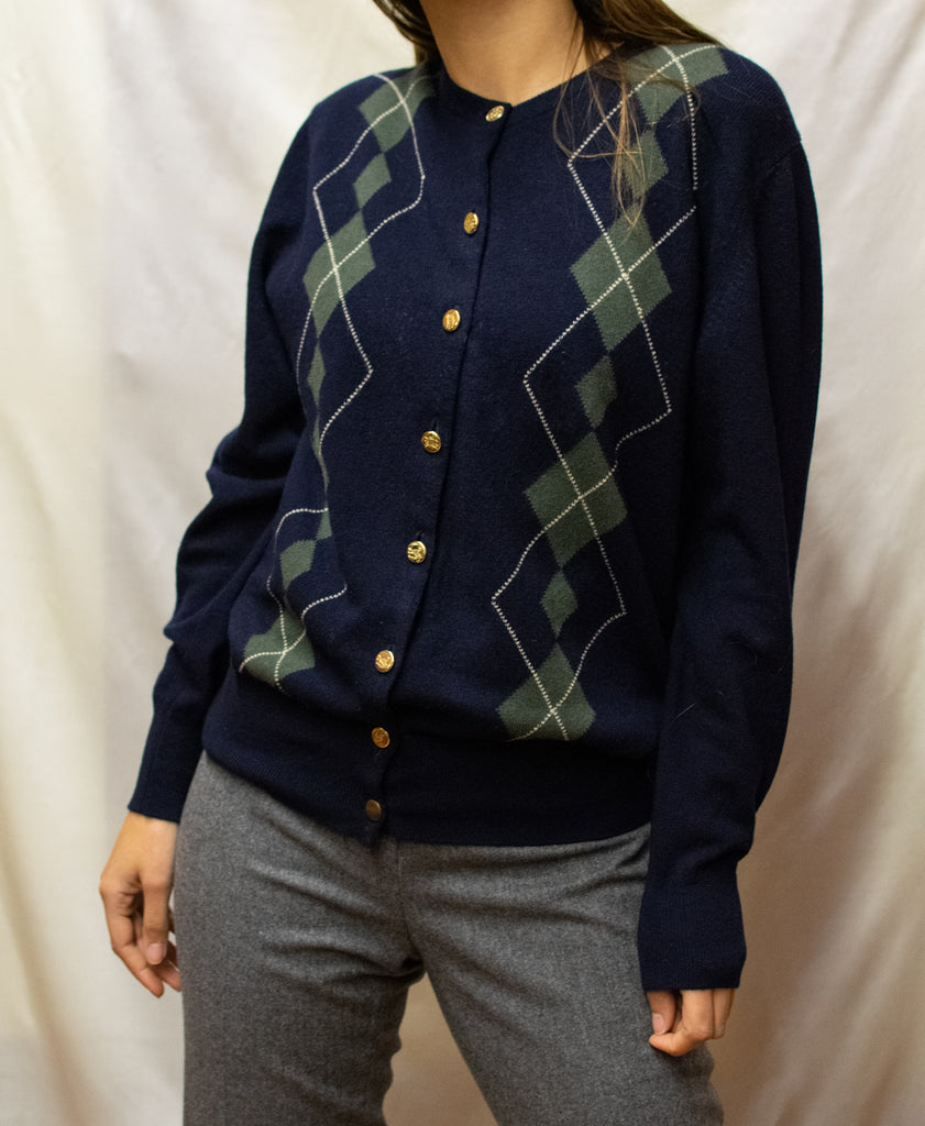 Vintage Checkered Burberry Cardigan - Original!