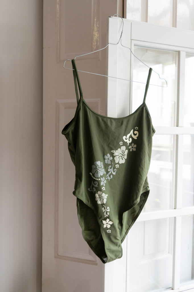 Dark Green Vintage Swimsuit with Hawaiian Flowers