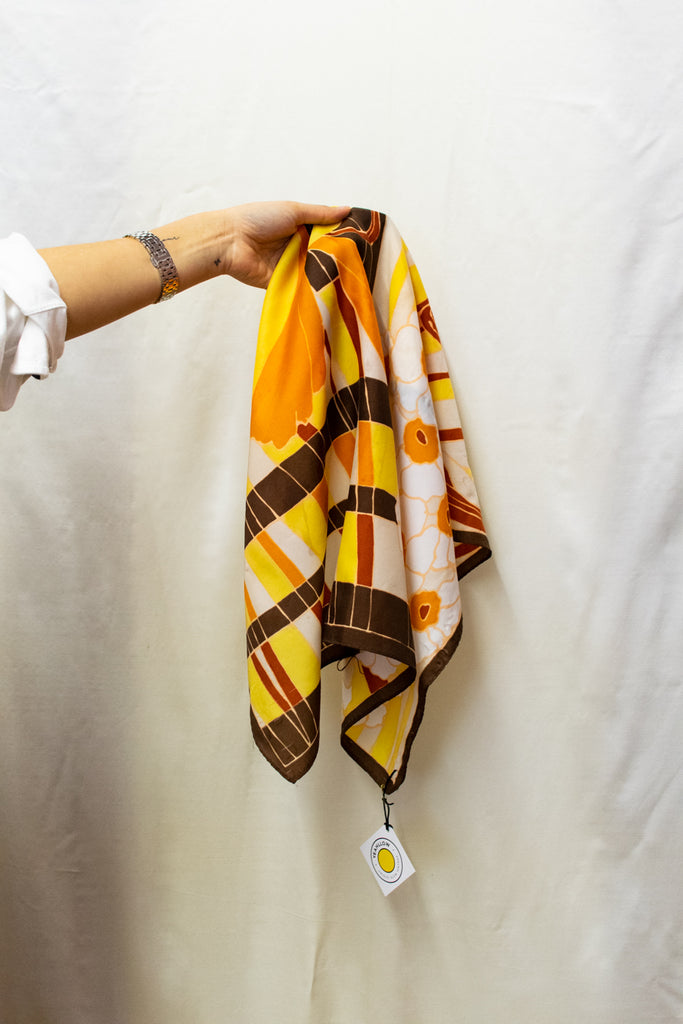 Brown and Yellow Vintage Abstract Scarf