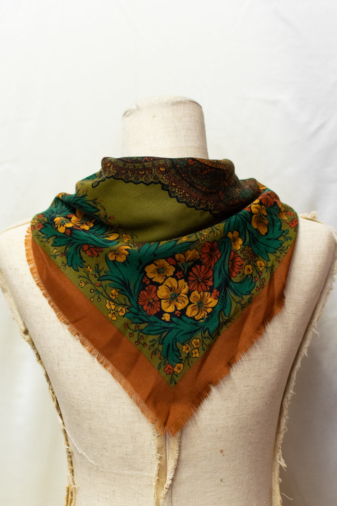 Vintage Brown and Green Scarf - with flowers!