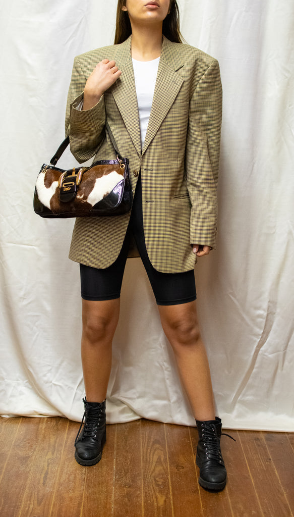 Vintge Beige Checkered Oversized Blazer - made in France