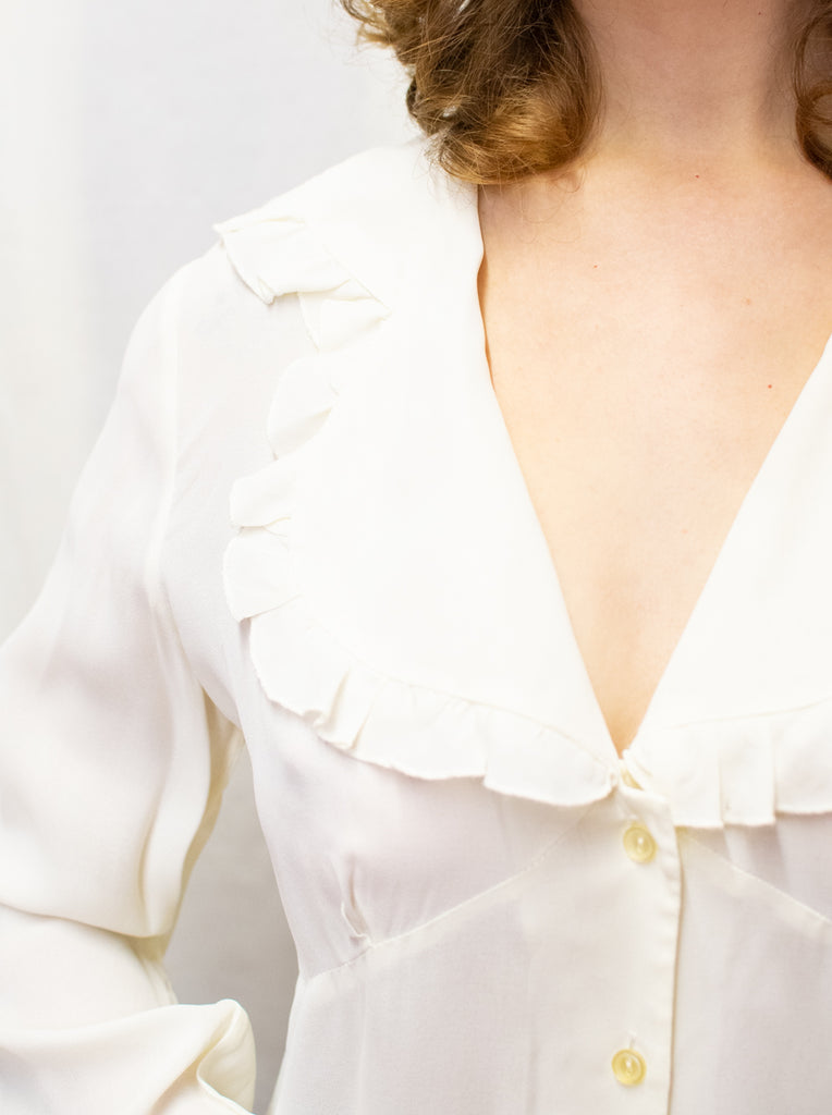 White Vintage Romantic Blouse - ruffled sleeves
