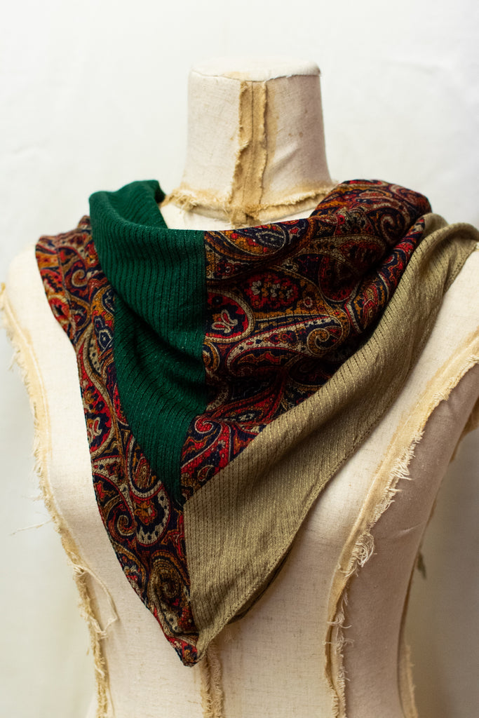 Vintage Abstract Green and Beige Scarf