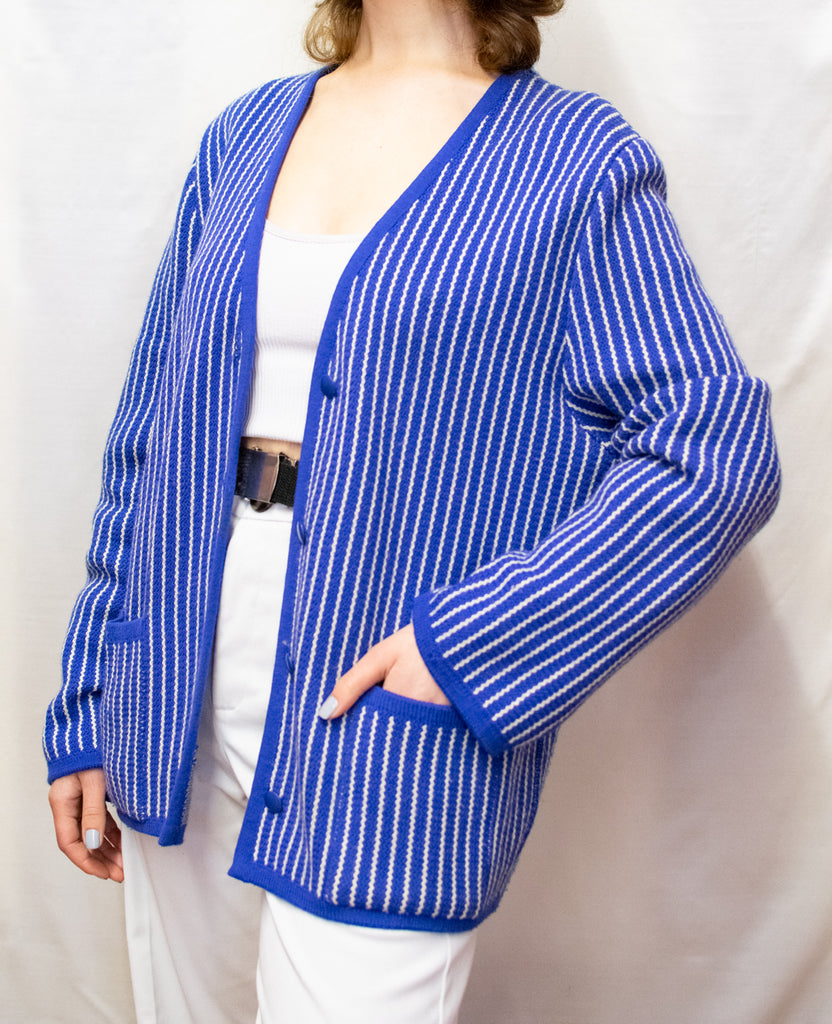 Vintage Blue and White Stripped Cardigan