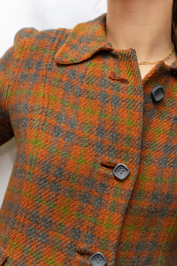 Vintage Multicolor Double-faced Overcoat - with Wool