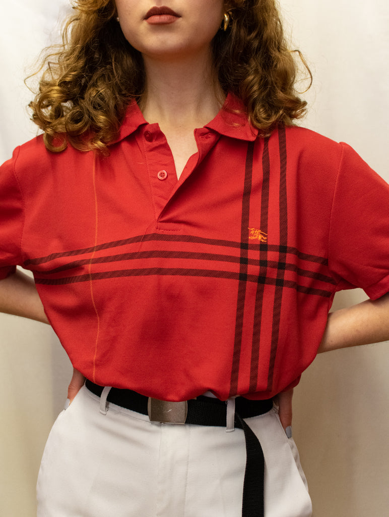 Red Vintage Burberry Polo with Black Stripes