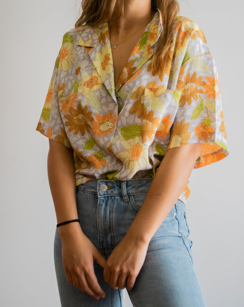 Vintage Collar Shirt with Floral Pattern