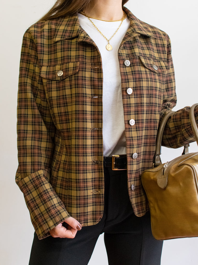 Vintage Brown Checkered Blazer - Made In Madrid