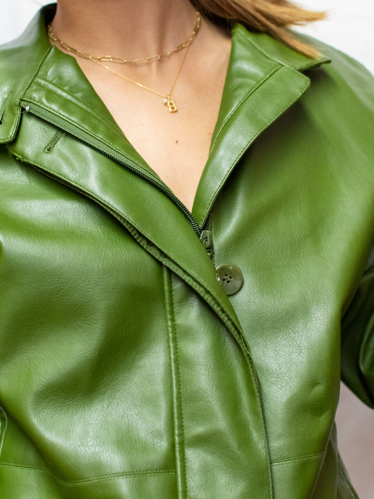 Green Vintage Faux Leather Jacket - so cool!