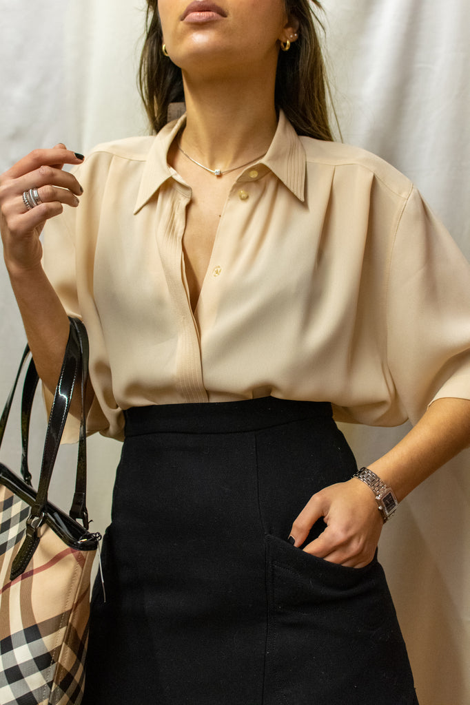 Vintage Short Sleeve Blouse in Beige - so elegant