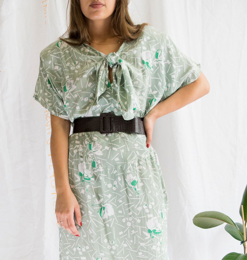 60s Green Vintage Dress with Shoulder Pads and Bow Tie