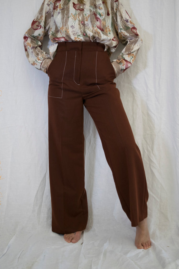 Vintage Brown High Waist Trousers