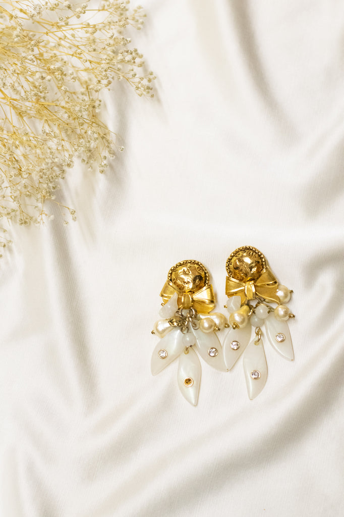 Golden and White Vintage Drop Earrings