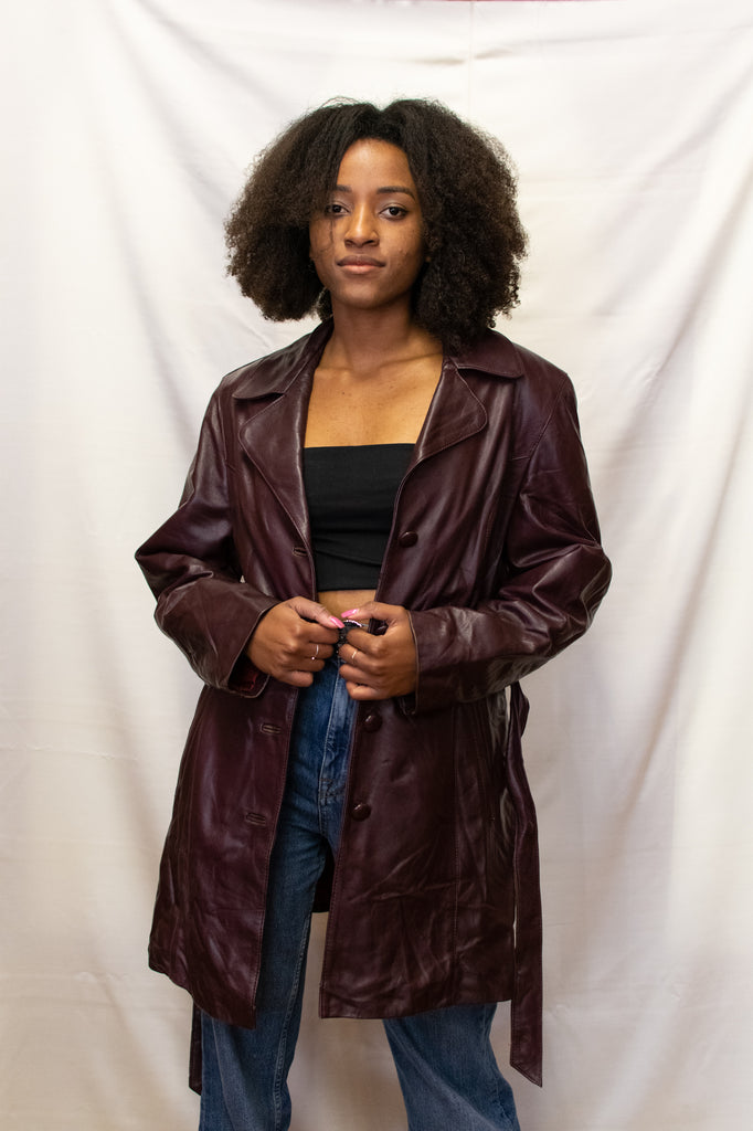 Burgundy Leather Long Jacket - 100% Real Leather