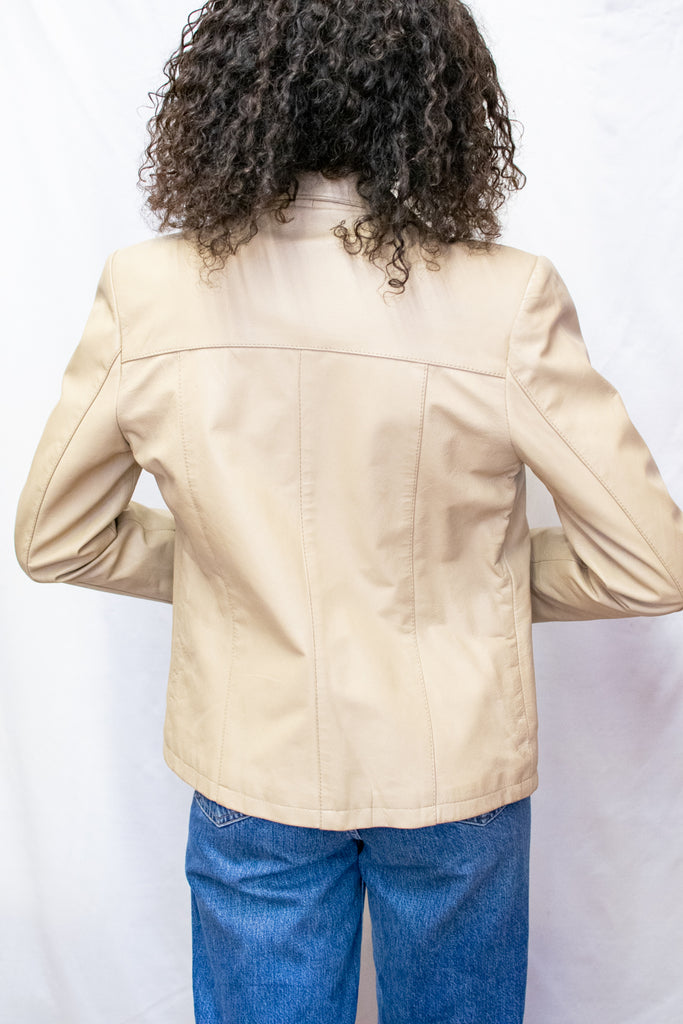 Vintage Creme 100% Leather Blazer - Made in Barcelona