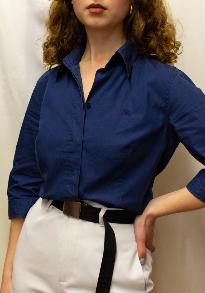 Vintage Navy Blue Short Sleeved Blouse - Burberry Original!