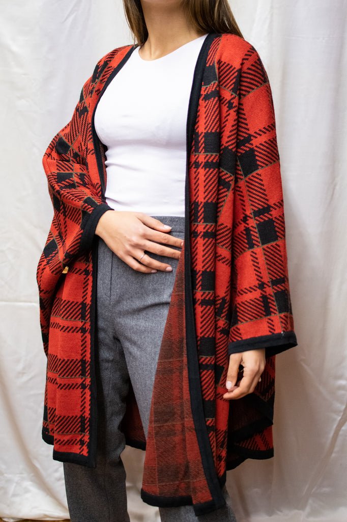 Vintage Poncho Coat - In Red - Very comfortable
