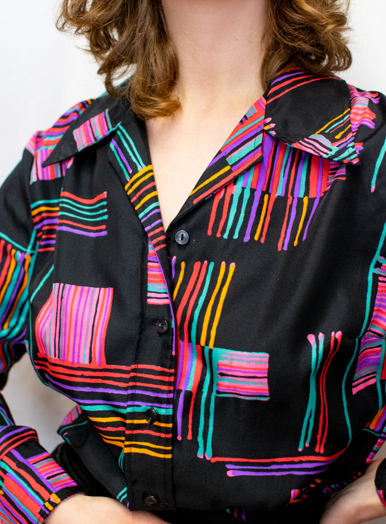 Black Vintage Blouse with Geometric Pattern