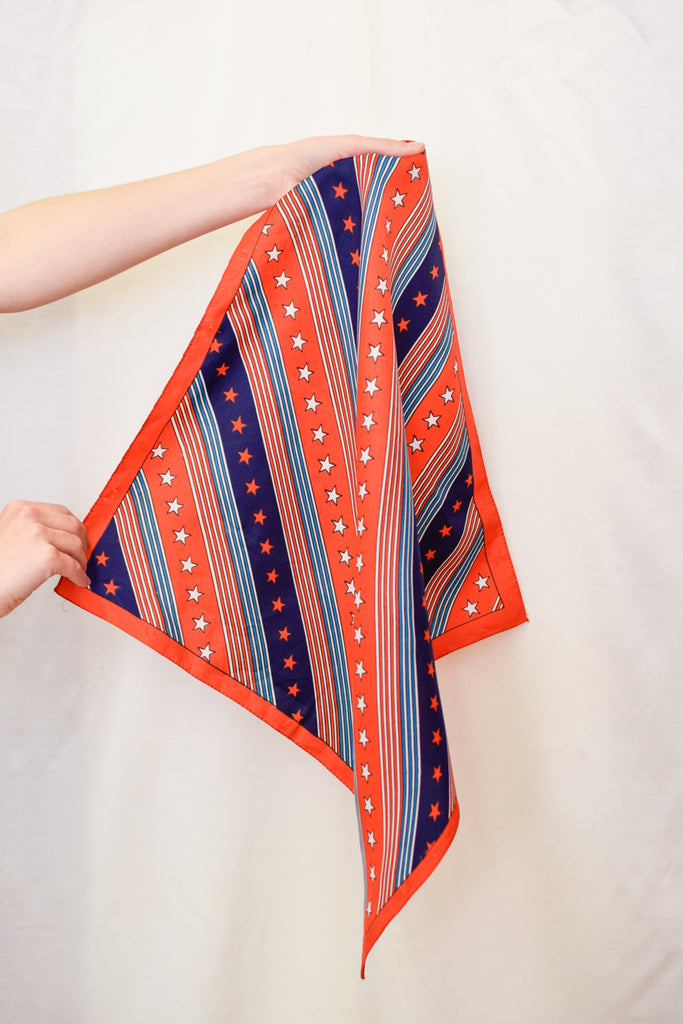 Red and Blue Vintage Scarf