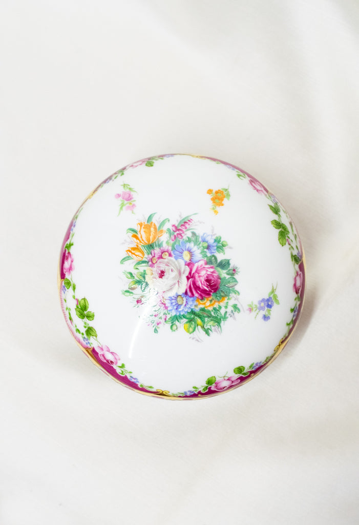 Vintage porcelain box - with flower - porcelain M.A.B.A LIMOGES
