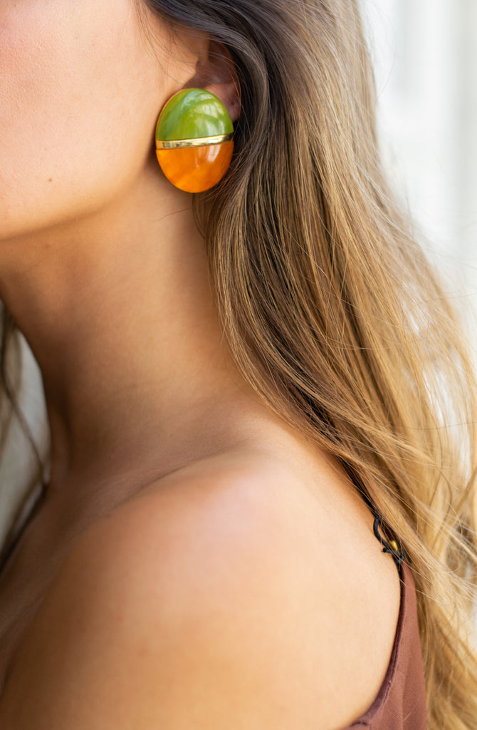 Oval Vintage Earrings in Green and Orange