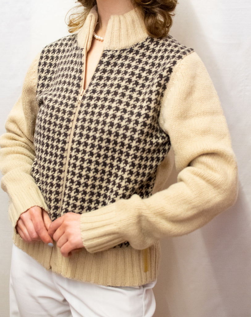Vintage Beige and Brown Lamb's Wool Cardigan