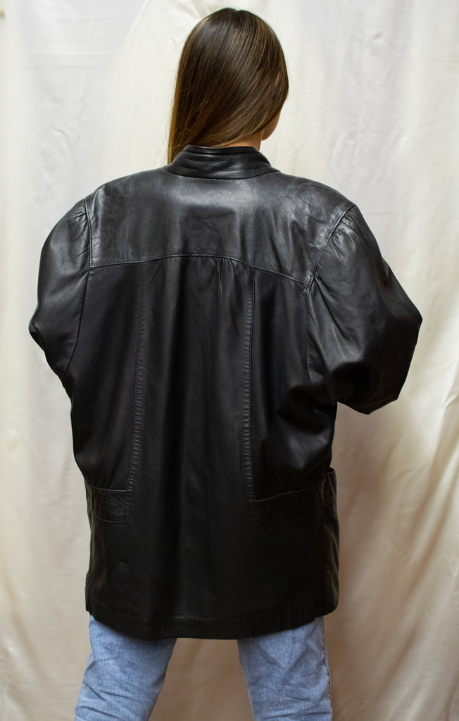 Oversize Leather Jacket in Black - So cool